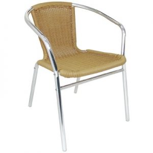Bolero Aluminium and Natural Wicker Chair (Pack of 4) U422
