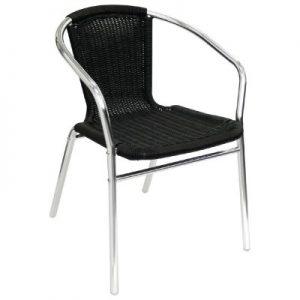 Bolero Aluminium and Black Wicker Chairs Black (Pack of 4) U507